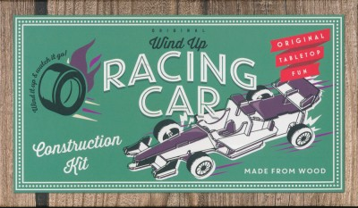 Wind Up Racing Car: Wooden tabletop fun construction kit by Professor Puzzle