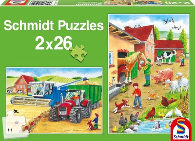 Schmidt On the Farm Jigsaw Puzzles - Contains two 26 piece puzzles for ages 3 plus