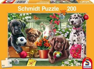 Playful Puppies: Children's Schmidt Dog Jigsaw Puzzle 200 pieces 56198 Ages 8 plus