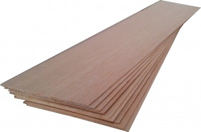 "BALSA WOOD 10 sheets 18"" x 4"" x 1/32"" (460mm x 100mm x 0.8mm)"